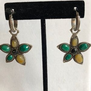Lucky Brand Reversible Green Silver Flower Earring